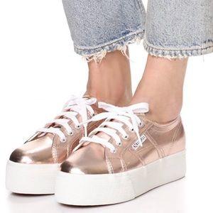 Superga Sneaker Platform Rose Gold Size 9 or Eu 40